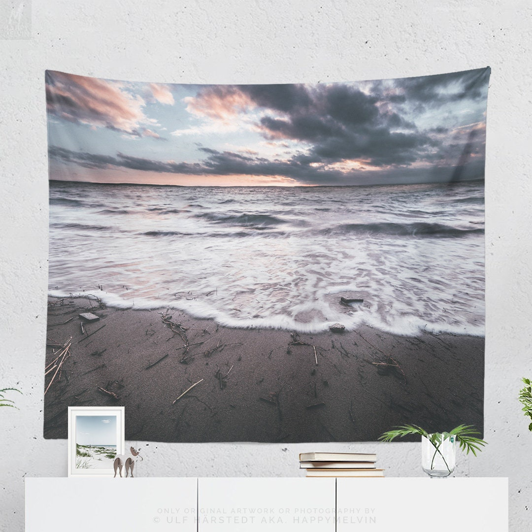 Ocean Wave Tapestry, a nautical tapestry and large wall art making a