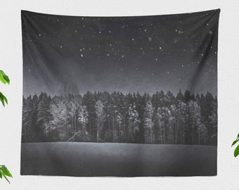 Dark Forest Wall Tapestry, woods dorm wall hanging, large bedroom wall decor and boho living room decor