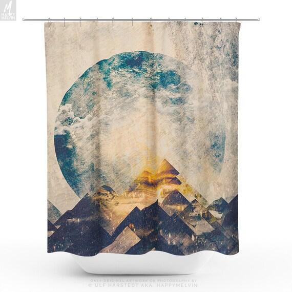 One Mountain At A Time Shower Curtain Artsy Bathroom Curtain