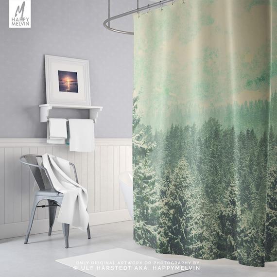 Douche Rustique rideau de douche rustique forêt, rideaux de douche boho, rideau de