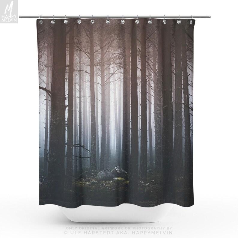 Spooky Forest Shower Curtain Boho Bathroom Decor Dorm Decor Etsy