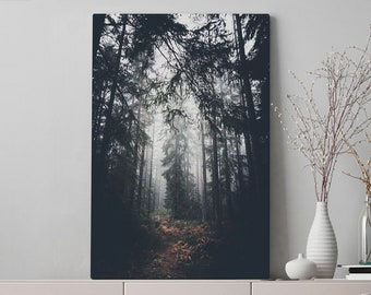 Magical Woods Canvas Art, forest wall art and wall hanging, ready to hang living room canvas, modern office art