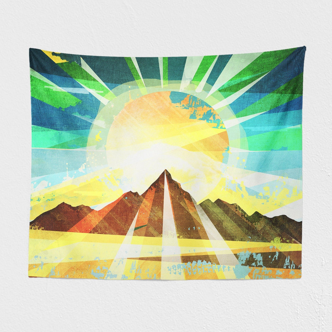 Colorful Landscape Tapestry, a free spirit wall hanging making a ...