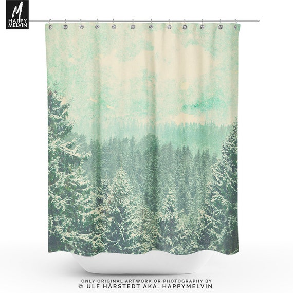Rustic Forest Shower Curtain Nature Bathroom Boho