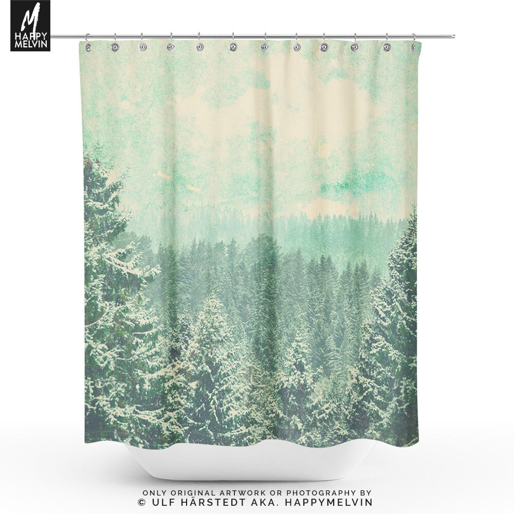 Rustic Forest Shower Curtain Boho Curtains Decor Nature Bathroom Indie Unique Gifts