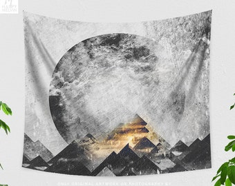 Dorm Mountain Tapestry, abstract living room wall hanging, large boho bedroom wall decor and wall art