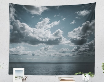 Dreamy Sky Tapestry, clouds wall tapestry, large living room wall decor, dorm and bedroom wall hanging.