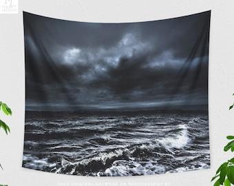 Moody Ocean Tapestry, powerful dorm wall decor, large ocean bedroom wall hanging,nautical living room wall art