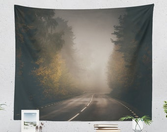 Mystic Road Tapestry, foggy forest dorm wall hanging, wanderlust living room wall decor , relaxing nature bedroom wall art