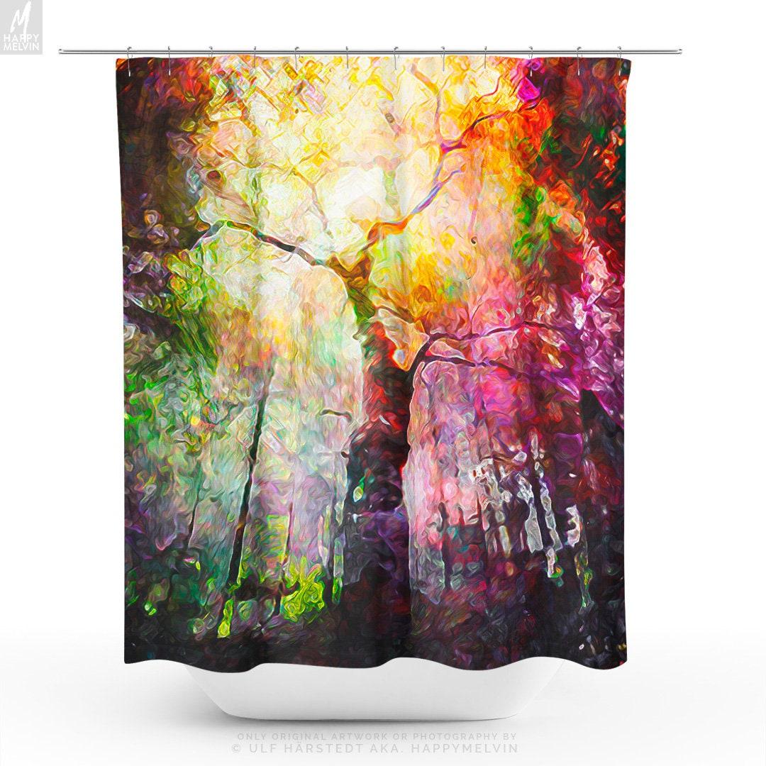 Colorful Forest Shower Curtain Nature Art Bathroom Boho