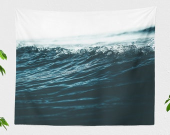 Ocean Wave Wall Tapestry, living room nature wall hanging, lage nautical and beach life wall art, dorm and bedroom wall decor
