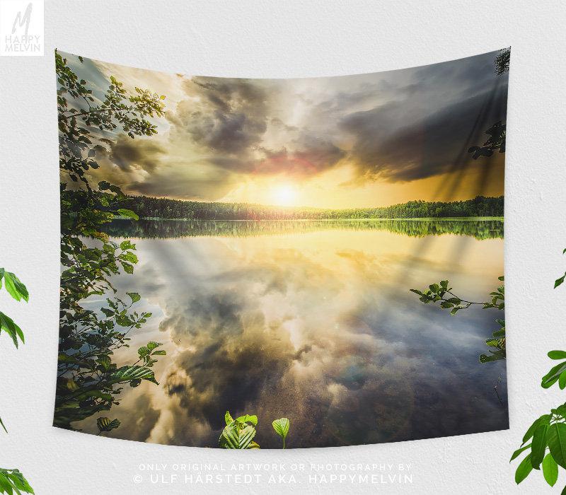 Colorful Lake Tapestry, Lake Wall Hanging, Colorful Sunset Wall ...