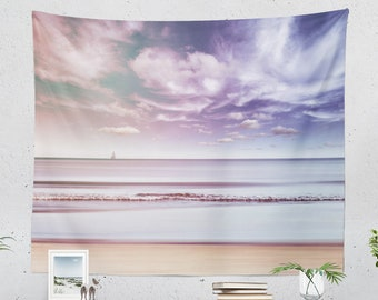 Beach Dorm Wall Tapestry, summer bedroom wall hanging, colorful naturical living room wall decor, large sea side wall art