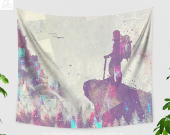 Wanderlust Tapestry, nature art tapestry, adventure dorm and bedroom decor and living room decor making a statement.