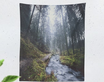 Wanderlust Forest Tapestry, living room nature wall hanging, tranquil and calming woods, large dorm and bedroom enchanted woods wall decor
