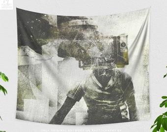 Grunge Art Wall Tapestry, artsy dorm and bedroom wall hanging, unique and cool living room wall decor