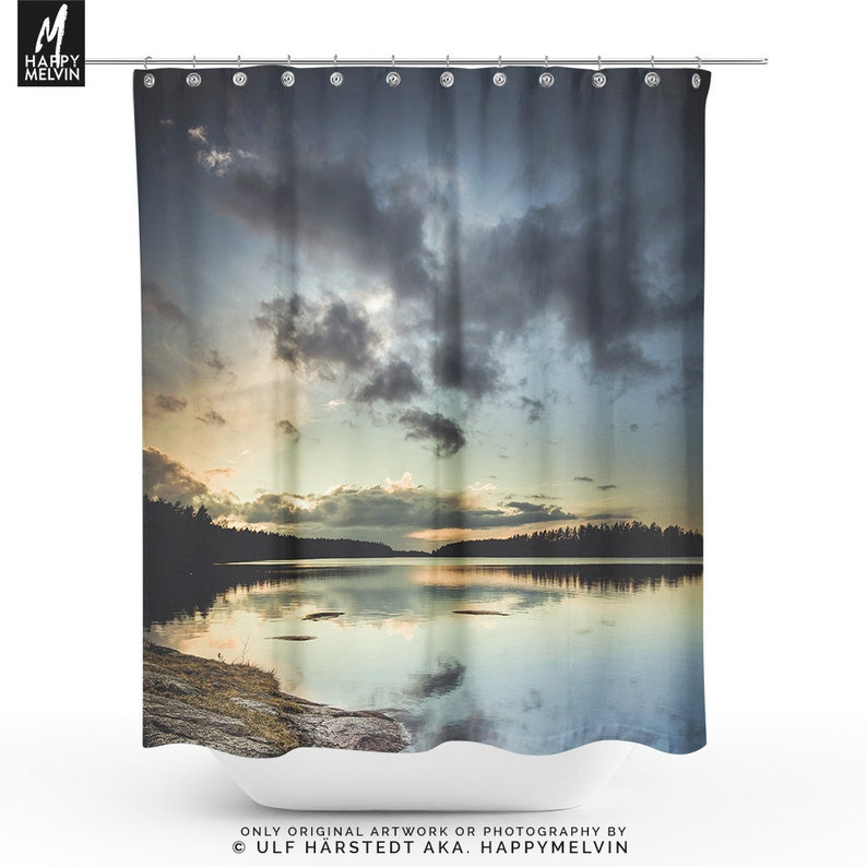 Colorful Sunset Shower Curtain Landscape Bathroom