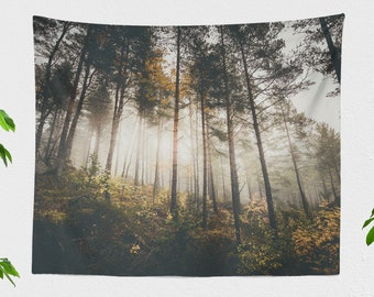 Glowing Forest Wall Tapestry, magical tapestry, woods wall decor and living room decor,  and dorm and bedroom decor, large wall art