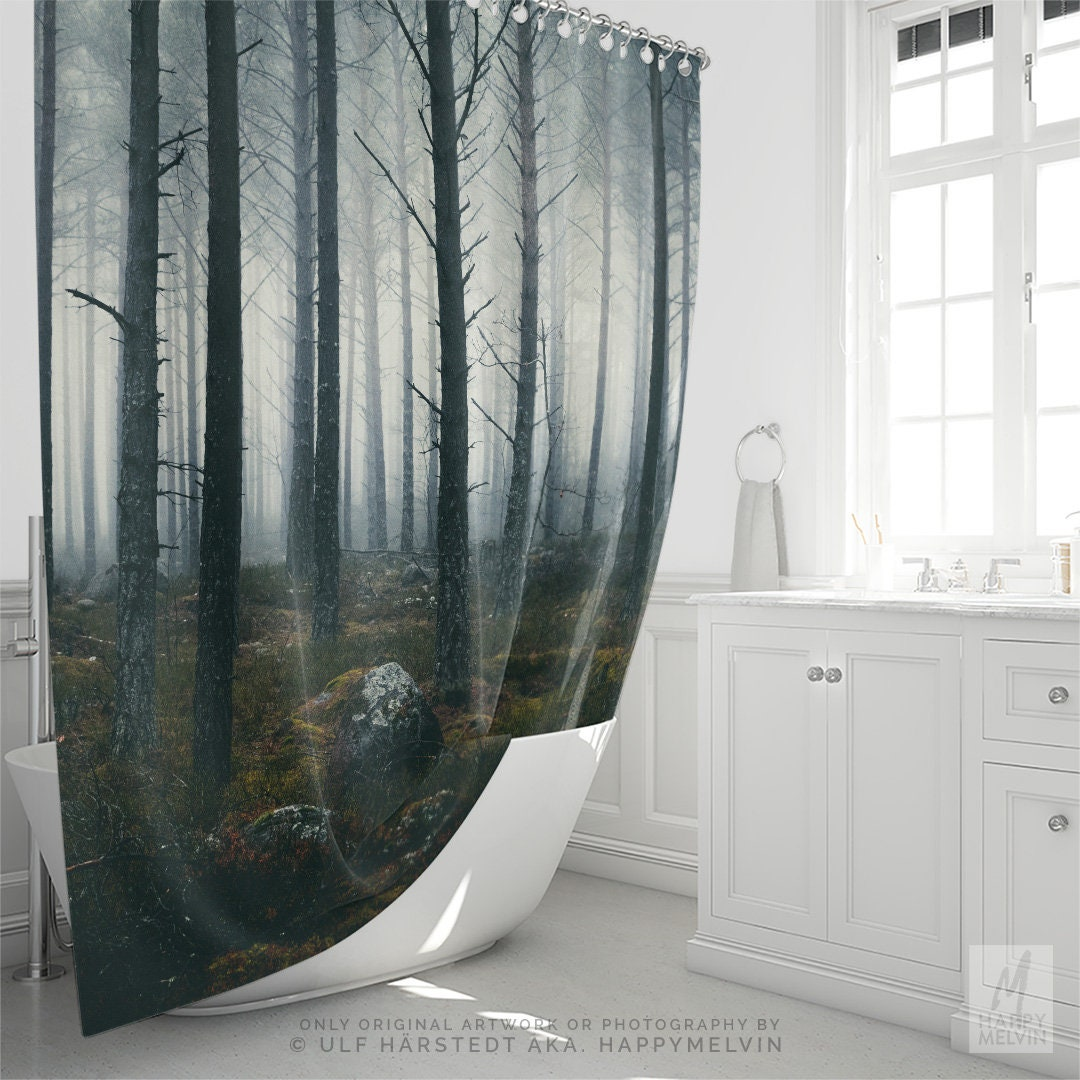Spooky Forest Shower Curtain Woods Bathroom Boho Decor Dorm And Unique Home Making A Statement