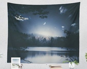 Blue Night Tapestry, lake and moon wall hanging, nature living room wall decor, large dreamy wanderlust dorm and bedroom wall art