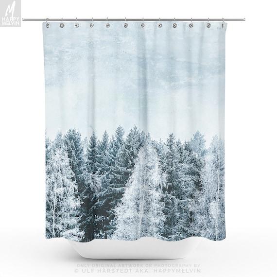 Pine Forest Shower Curtain Winter Woods Bathroom