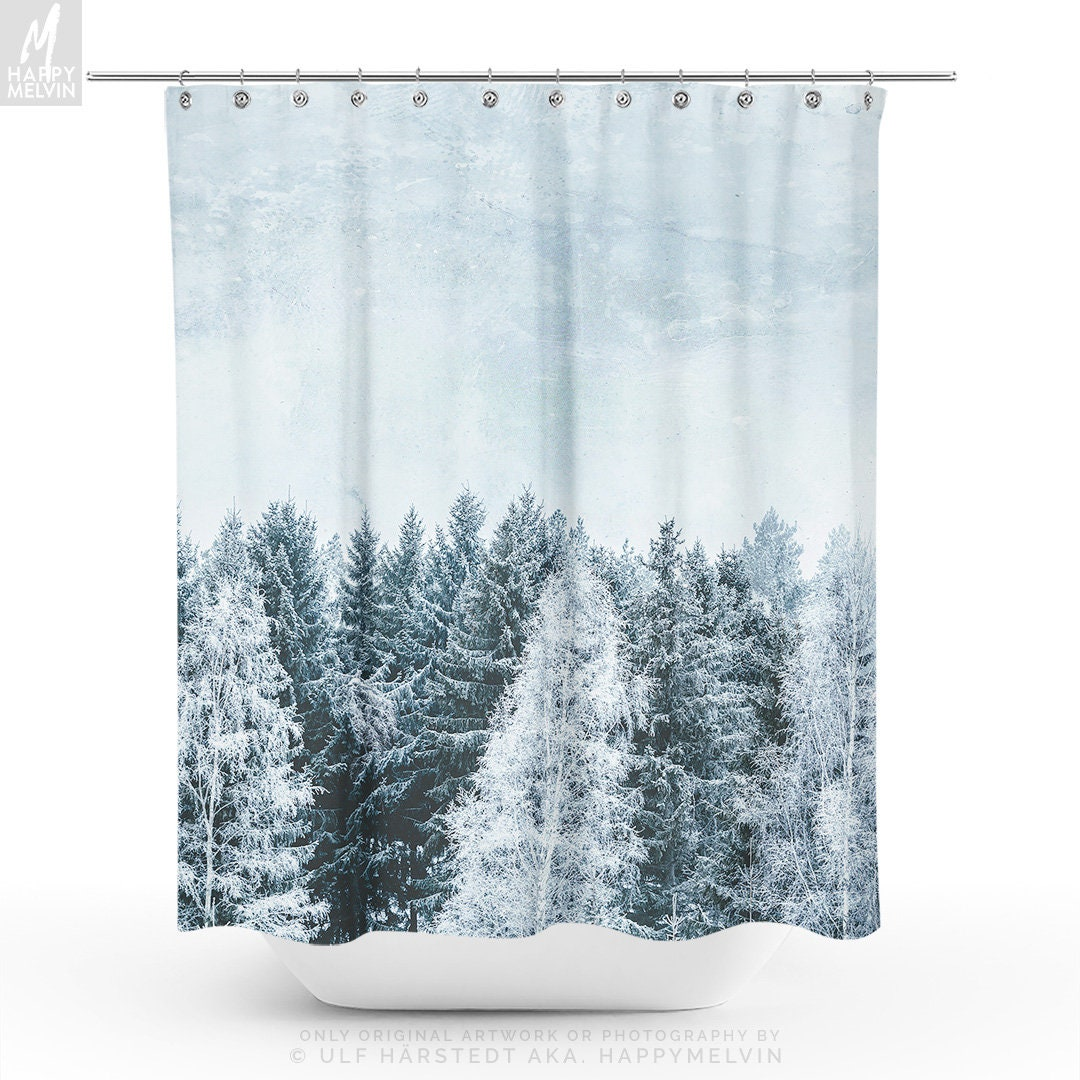 Pine Forest Shower Curtain Winter Woods Bathroom Boho Decor Dorm And Unique Home Making A Statement