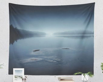 Magical Lake Tapestry, calming wall tapestry, peaceful large wall decor and wall art, nature dorm room and bedroom wall hanging.