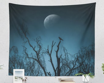 Crow Tapestry, moon dorm wall tapestry, mystic livingroom and bedroom wall hanging, spooky wall decor and wall art