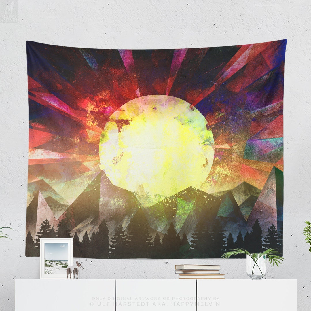 Wall Tapestry With Colorful Wanderlust Artwork, Original Art, Nature ...
