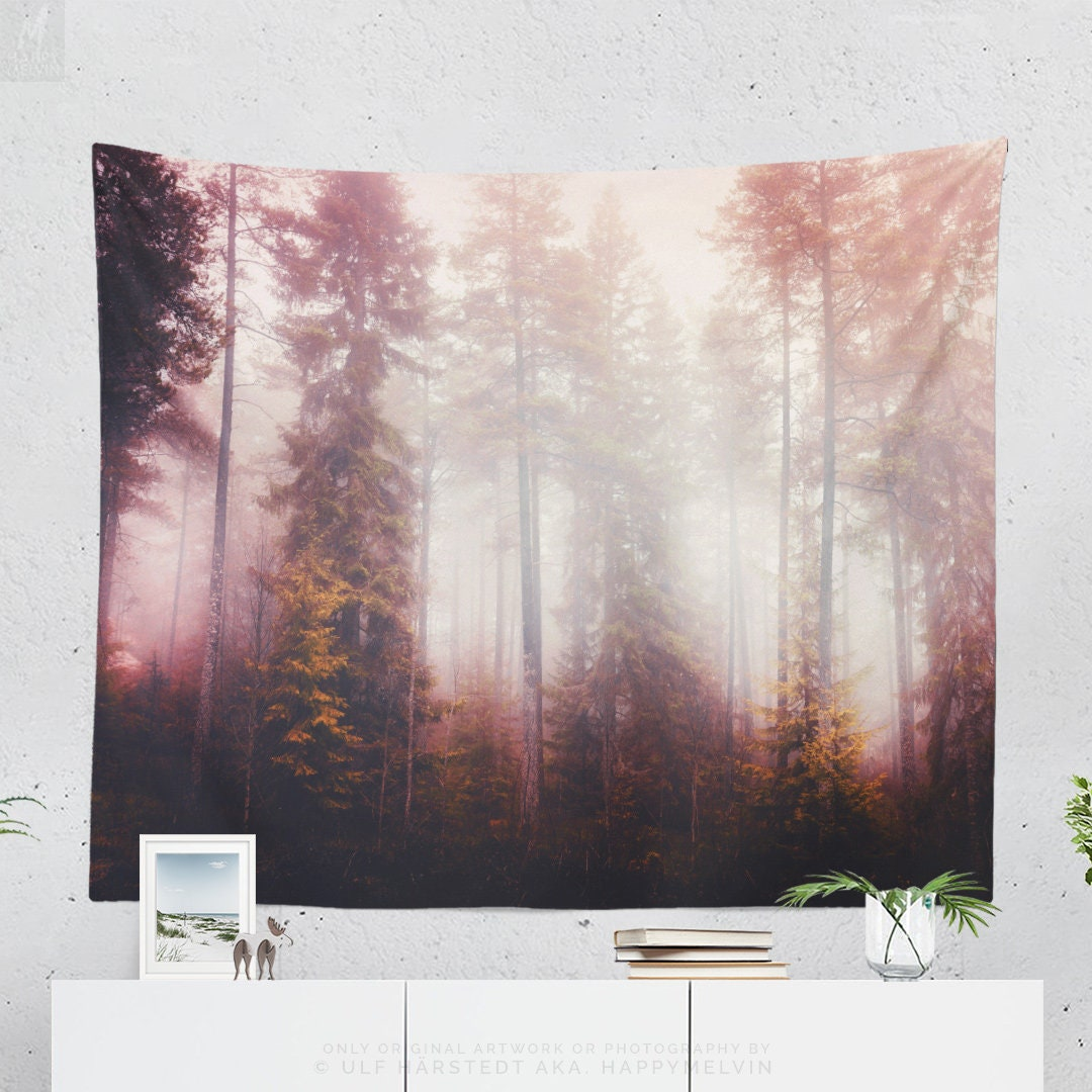 Fog Forest Tapestry Tranquil Wall Tapestry Large Colorful Wall Decor And Wall Art Wanderlust Dorm Room And Bedroom Wall Hanging