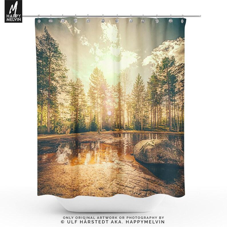Forest Sunrise Shower Curtain Nature Bathroom Boho