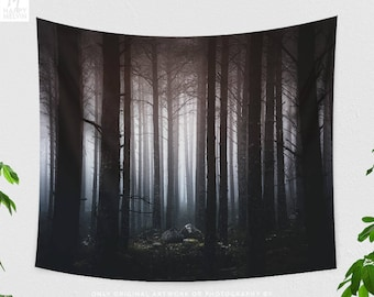 Dreamy Forest Tapestry, dorm nature wall hanging, spooky bedroom wall decor and large boho living room wall art