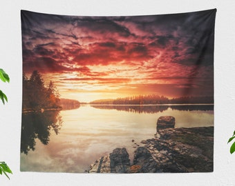 Beautiful Lake Tapestry, colorful landscape wall hanging, peaceful nature wall decor, large wanderlust dorm tapestry, boho living room art