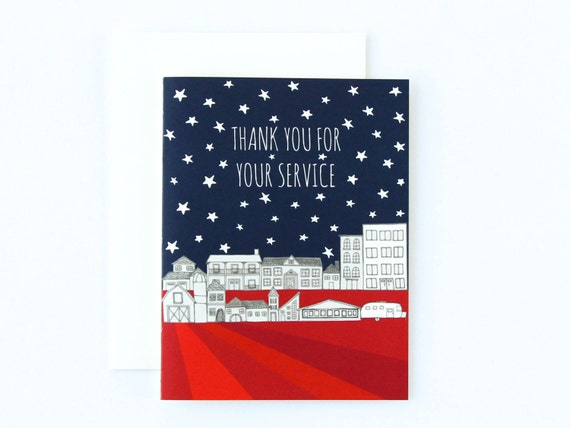 Veterans Day Card Thank You For Your Service Card Military Etsy