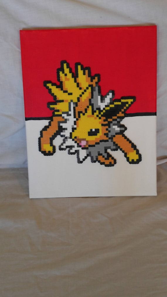 Free Shipping Jolteon Inspired Canvas, Pokemon Canvas, Pikachu Canvas,  Perler Bead Canvas, Got to catch them all Canvas, Hero canvas