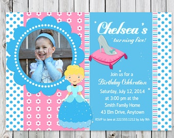 Cinderella & Glass Slipper Photo Birthday Invitation - Digital File