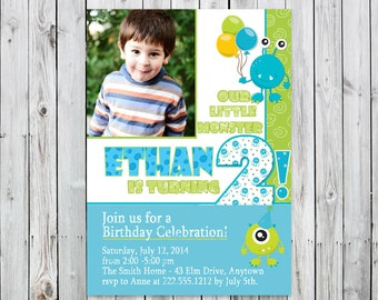 Little Monster! Photo Birthday Invitation - Digital File