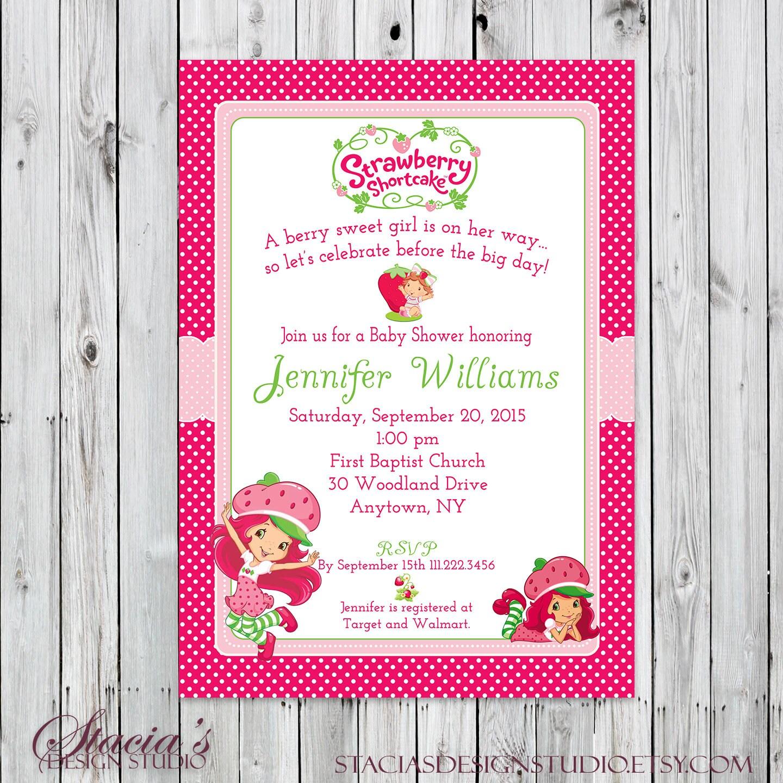 Strawberry Shortcake Baby Shower Invitation Digital File Etsy