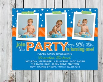 Little Star - 3 Photo Birthday Invitation - Digital File