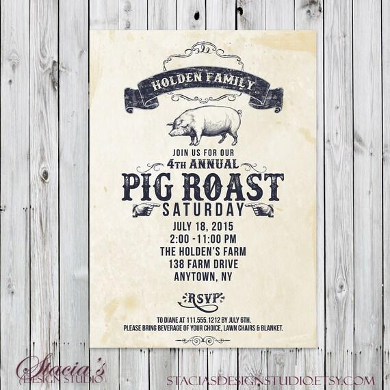 Pig Roast Invitation Vintage Digital File Party Etsy