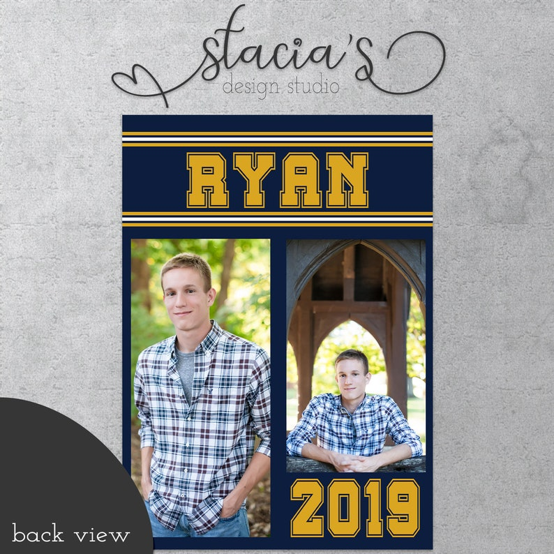 Graduation Invitation  Announcement  Five Photo  Customizable To School Colors  Two Sided  Digital File