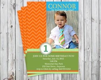 Chevron Color Block Photo Birthday Invitation - Digital File or Printed - Party Invite