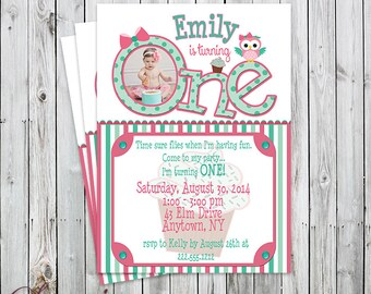 Cute Owl First Birthday Photo Invitation