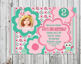 Owl and Flowers Photo Birthday Invitation - Digital File