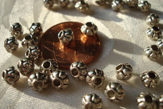 Hole 1.5mm 5x3mm Tibetan Silver Bicone Bead Spacers Qty 20 Red Copper