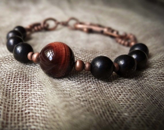 Red and black tigereye bracelet  ~ rugged rustic antiqued copper mixed stone Artsfish Studio