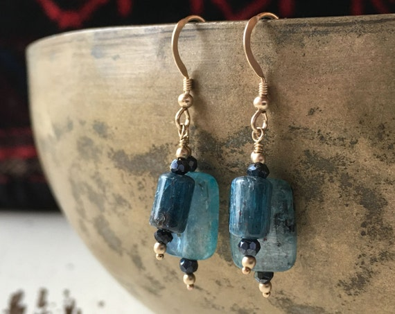 Kyanite earrings ~ hues of iridescent blue ~  gold fill drop dangle handcrafted elegant earrings ~ handcrafted packaging ~ Artsfish Studio