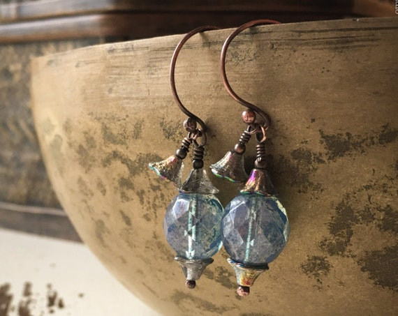 Antiqued solid copper and Czech glass dangle earrings~ rustic ~ rustic blue & iridescent glass flower dangle ~ Artsfish Studio