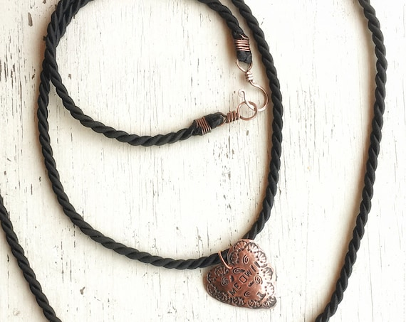 Black satin necklace cord for protest pendants ~ hammered solid copper OR sterling .925 silver clasps rustic handcrafted
