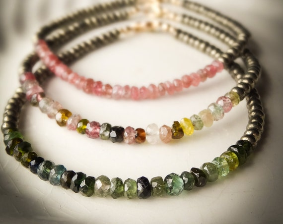 Gemstone Bracelet, singles or trio ~ watermelon tourmaline 14K gold fill & pyrite  ~ bohemian stackable  boho gift her Artsfish Studio